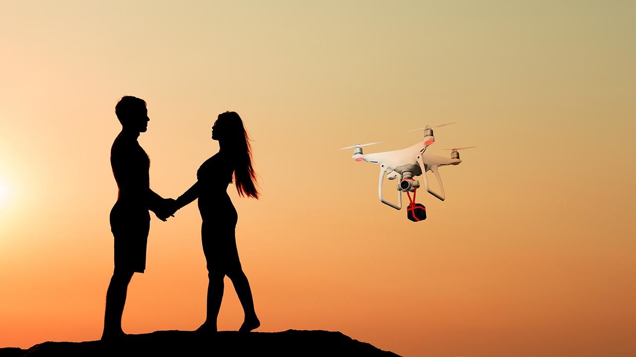 drone ile evlilik teklifi
